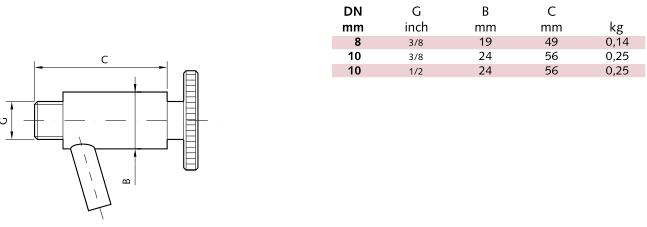vzorkovací ventil rozměry