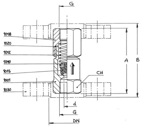řez přetlakovým pojistným ventilem V200