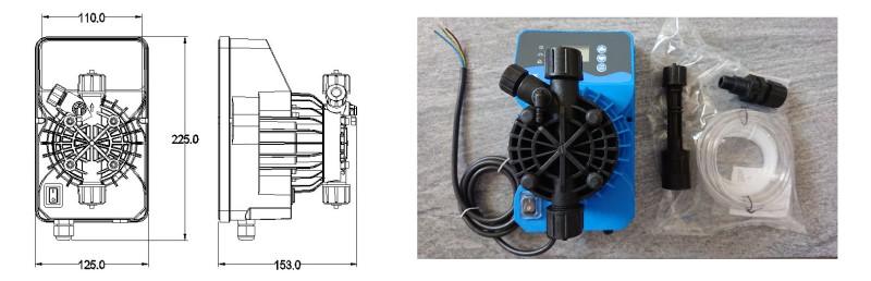 rozměry dávkovacího čerpadla MICON PMK, PMplus, PMi