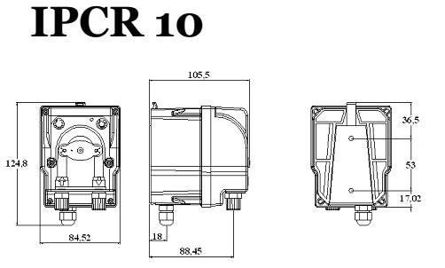 rozměry peristaltického čerpadla IPCR10
